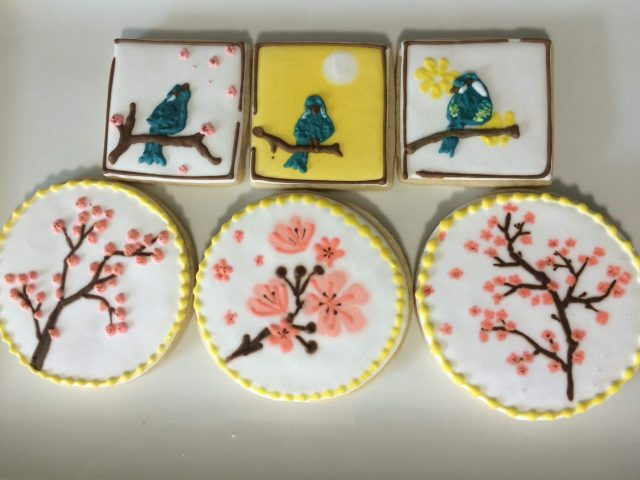 spring bird cherry blossom royal icing sugar cookie
