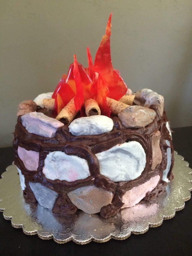 campfire cake fondant