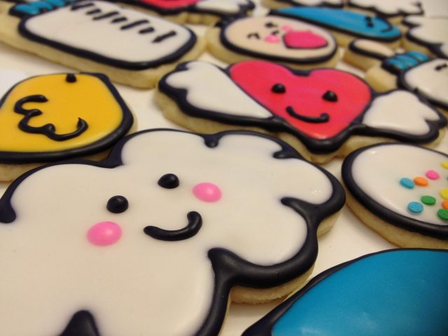 kawaii baby royal icing sugar cookies