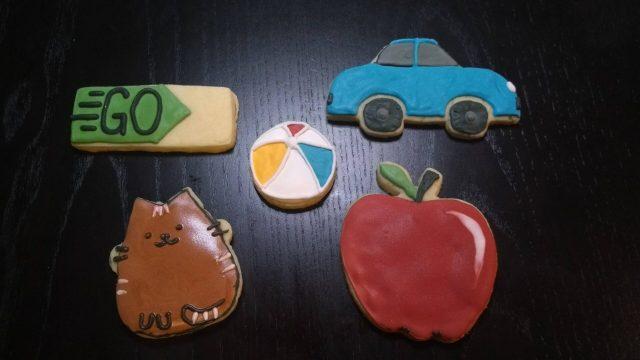 cat go ball car apple royal icing sugar cookies