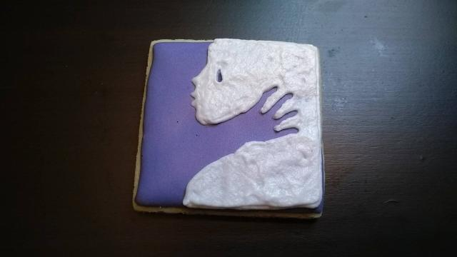 domestic violence awareness royal icing sugar cookie