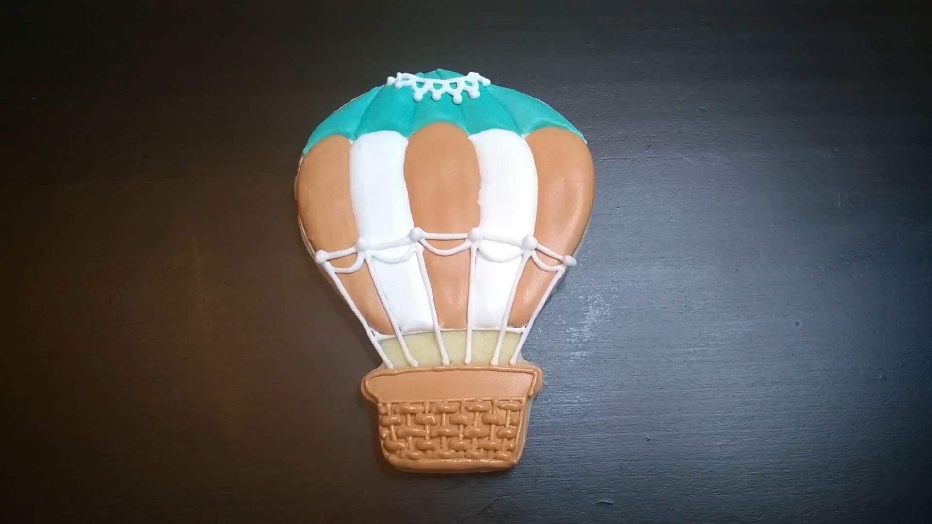 hot air balloon cookie teal brown