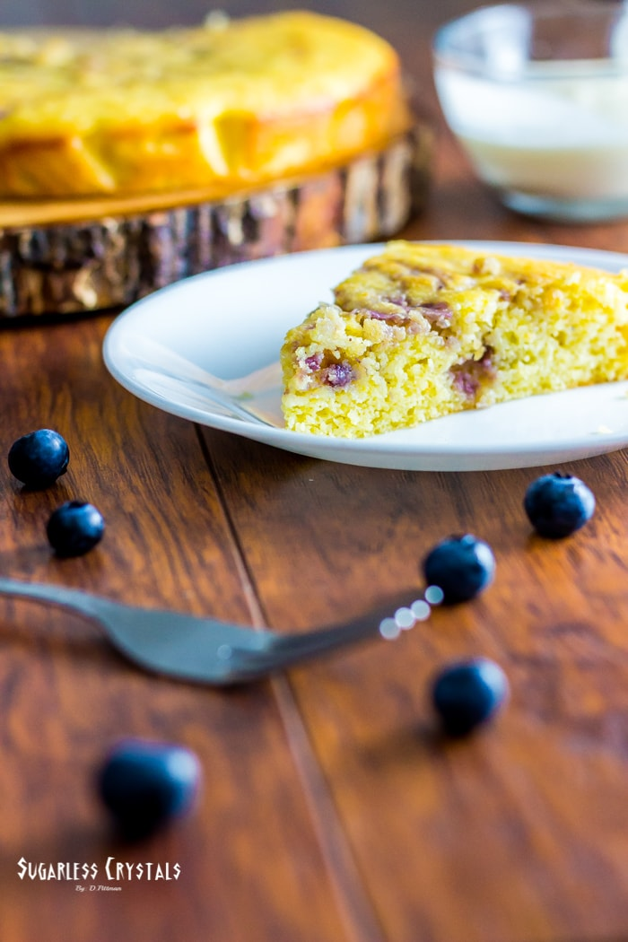 low carb lemon blueberry cake, keto, sugar free, grain free