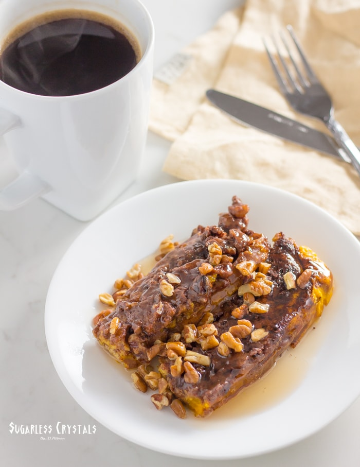 low carb pumpkin french toast bake with coffee drenched in caramel