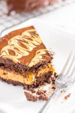 peanut butter stuffed chocolate keto cake with bite taken out