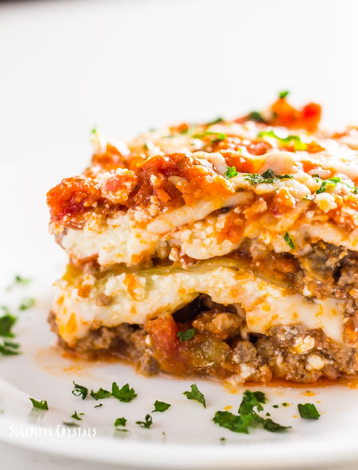 low carb cabbage lasagna cut showing layers cross section