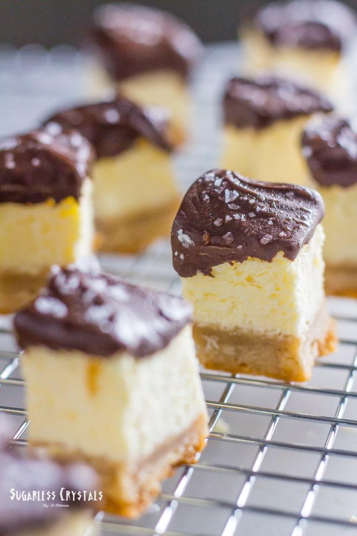 Keto Cheesecake Bites on cooling rack