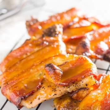 Bacon Wrapped Pork Chops With Keto Caramel Glaze