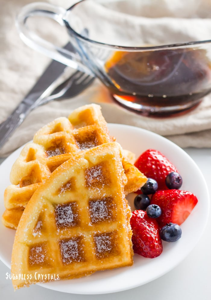 keto waffles with berries and syrup