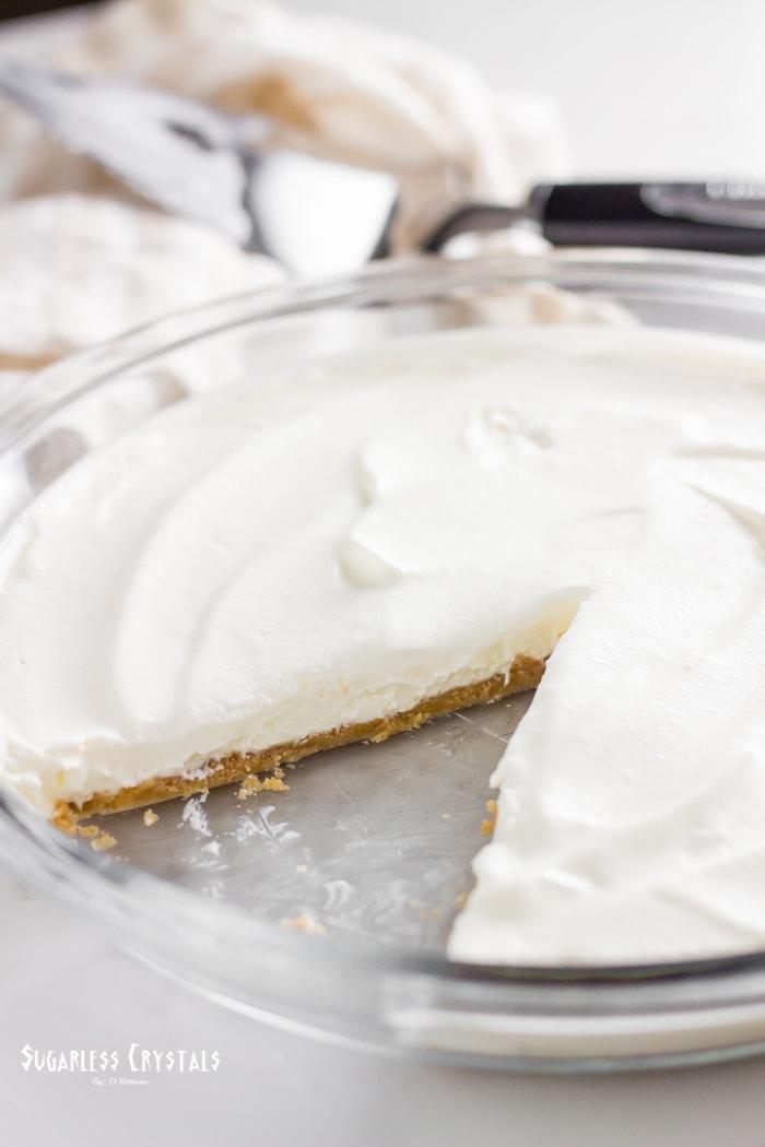 full keto no bake cheesecake in glass dish