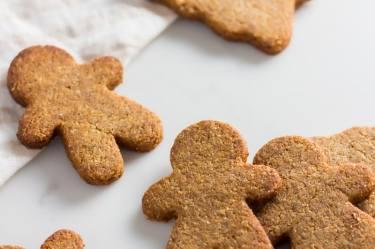 Keto gingerbread cookies, golden brown gingerbread men
