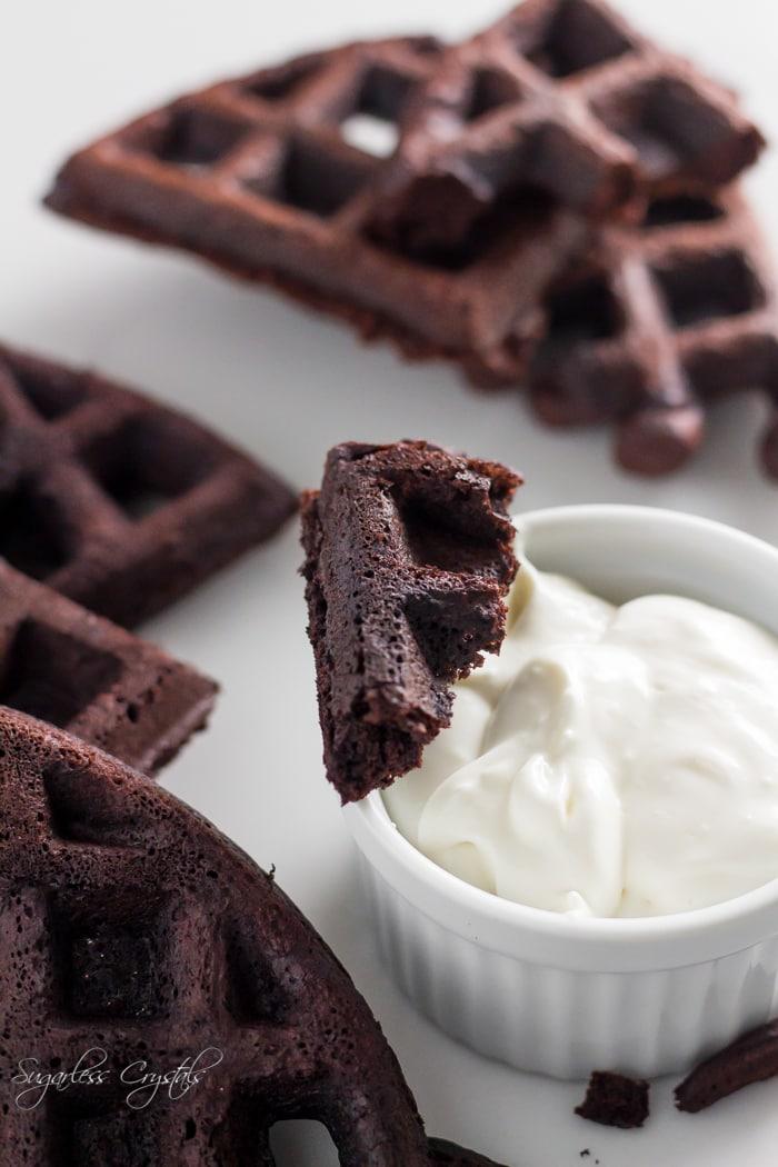chocolate keto waffles crumbled