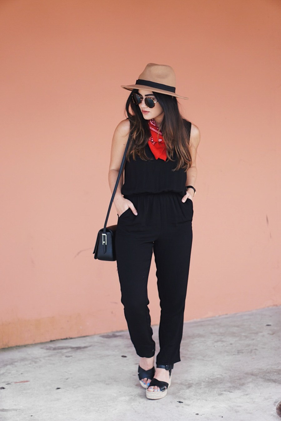 Sugar Love Chic blogger Krista Perez styles a Forever 21 Black Jumpsuit for Spring