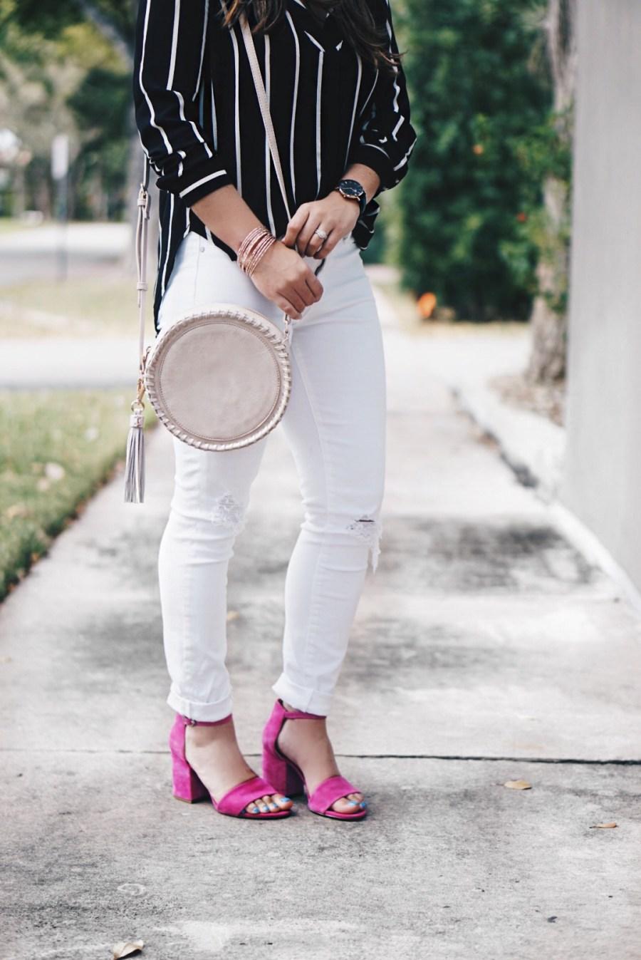 Sugar Love Chic blogger Krista Perez styles Sole Society Josa round cross body purse