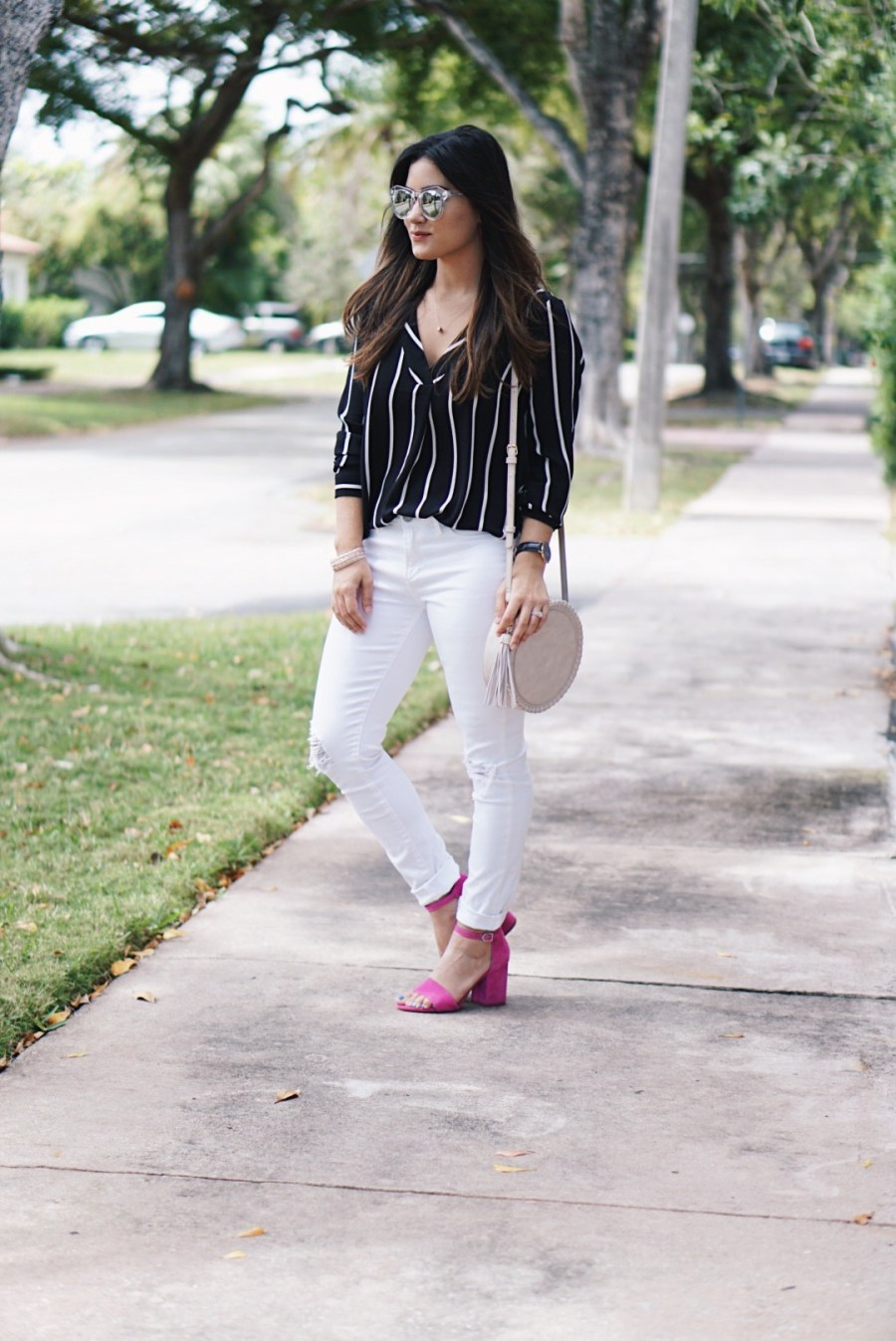 Sugar Love Chic blogger Krista Perez wear forever 21 striped long sleeve blouse