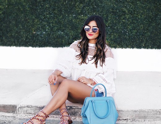 Sugar Love Chic blogger Krista Perez wearing white ruffle top and cutoff shorts