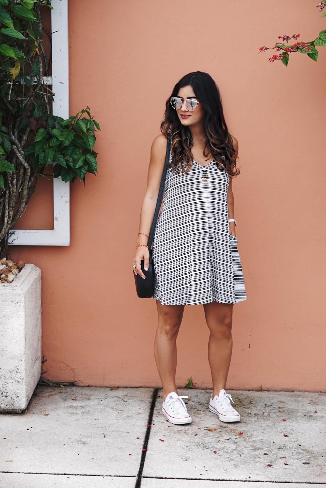 Sugar Love Chic blogger Krista Perez in Stripe Nordstrom Dress