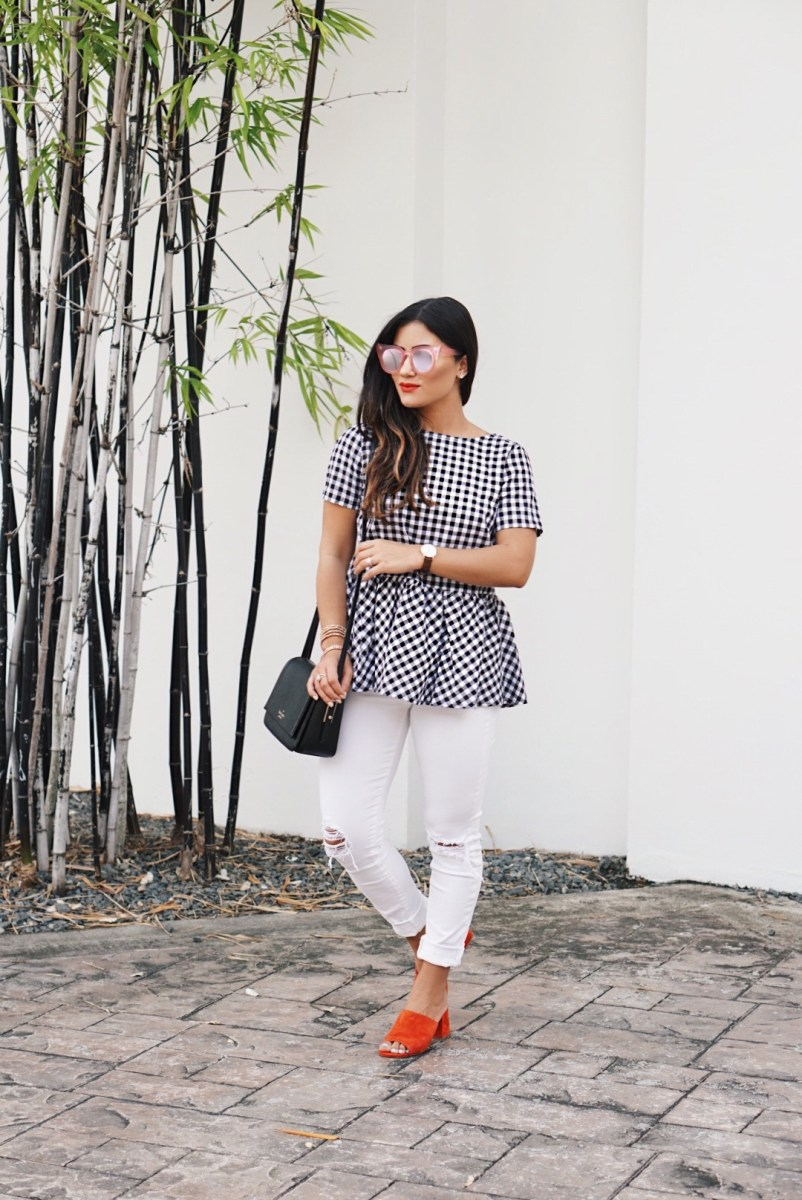 Gingham Peplum Classic Summer Outfit