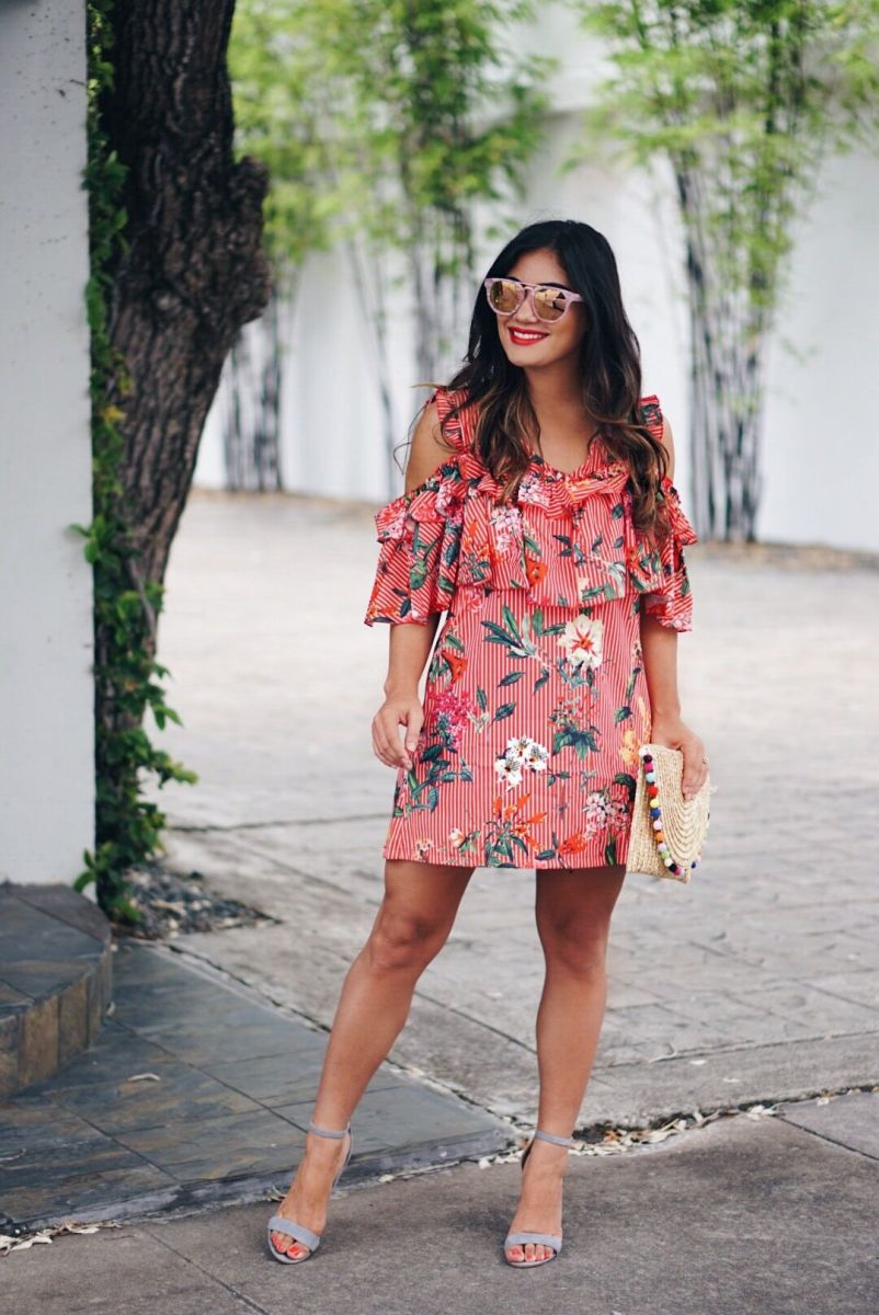 Red Ruffle Floral Dress
