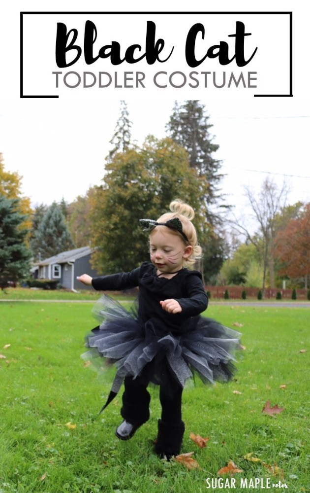 Halloween Black Cat Costume Idea and DIY Tutu Tutorial for Toddler or Baby Girls