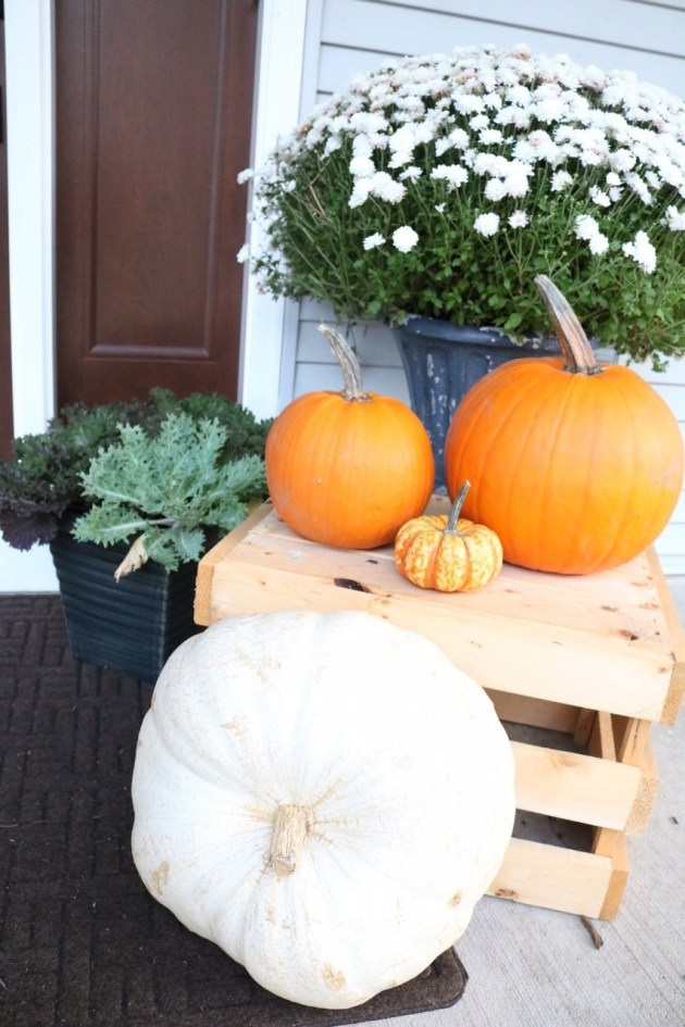 Fall Front Porch Inspiration | Pumpkins, Kale Planters, Mums, Apple Crate