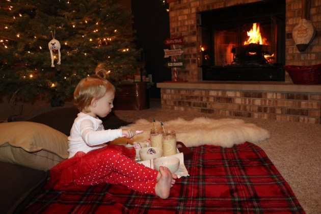 Enjoying Kemps ice cream and eggnog by the fire in Christmas pajamas!