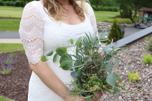 White Bohemian Wedding - Green bouquets