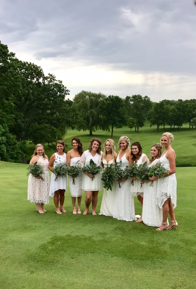 White Bohemian Wedding Party - All white bridesmaid dresses