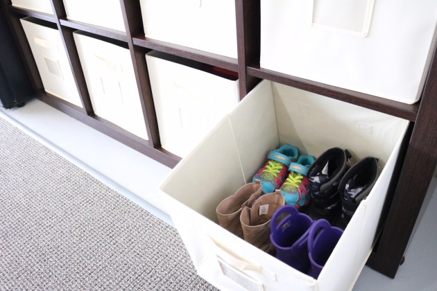 Garage Organization for Winter Gear with Sauder 8-Cube Storage Solution from Shopko - shoe storage for toddlers