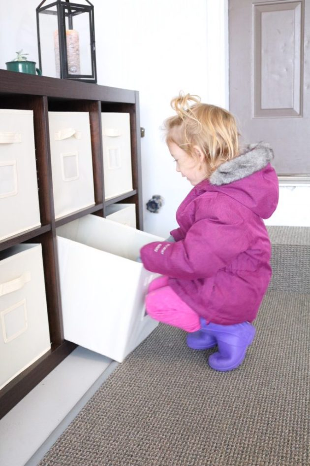 Garage Organization for Winter Gear with Sauder 8-Cube Storage Solution from Shopko - Even toddlers can help organize!