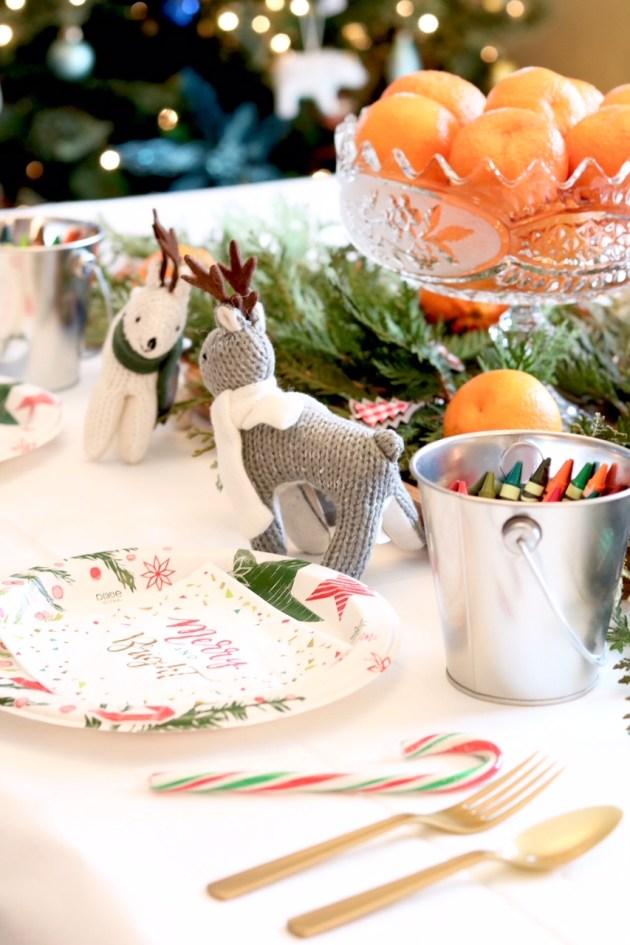 DIY Colorful and Fresh Christmas Kids Table - Gold Flatware