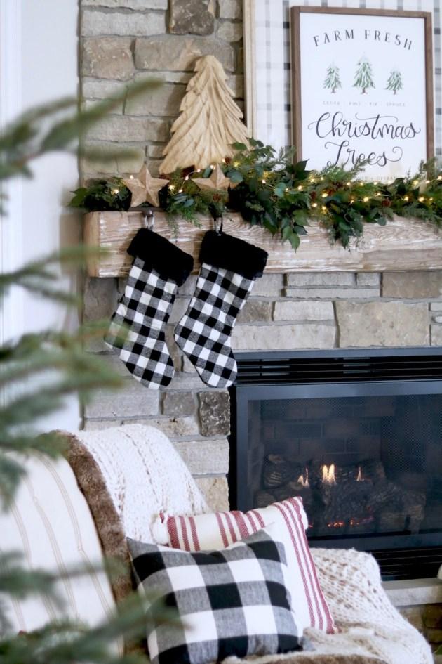 4c6ffe733d Christmas Living Room Decor - Farmhouse Mantel - Buffalo Print Decor -  Christmas Fireplace - Plaid