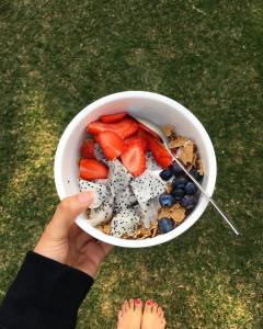 Muesli with fresh berries and dragon fruit with yogurt Allhellip
