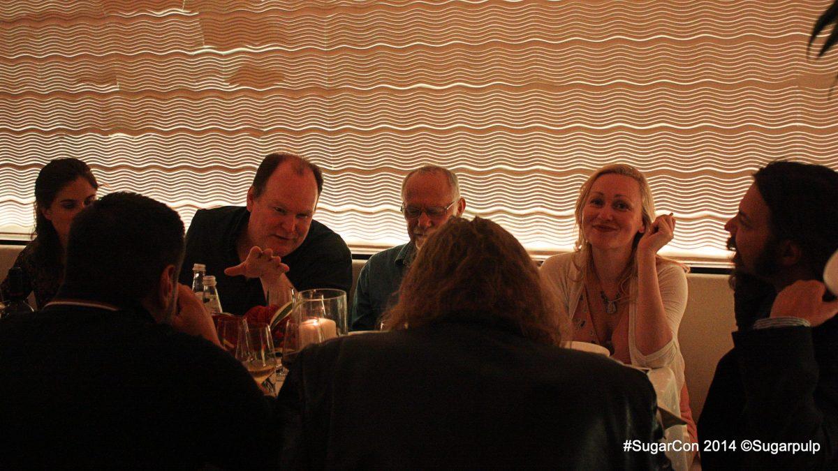 Sarah Pinborough alla SugarCON 2014 con Victor Gischler, Matteo Strukul al Caffè Pedrocchi
