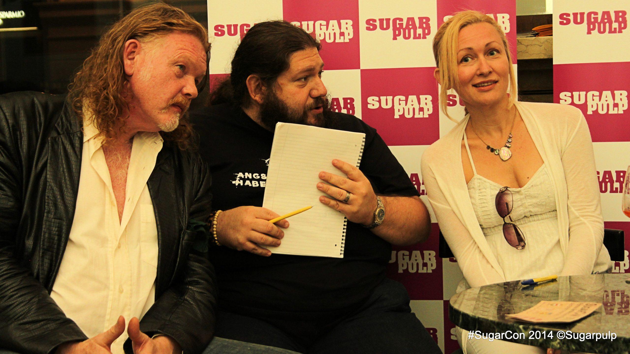 Sarah Pinborough alla SugarCON 2014 con Tim Willocks e Marco Piva