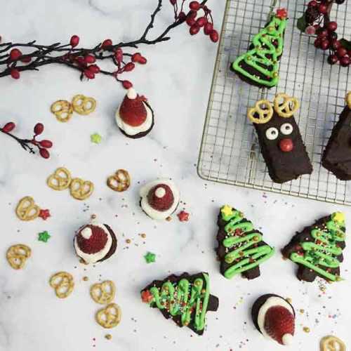 christmas brownies in three ways