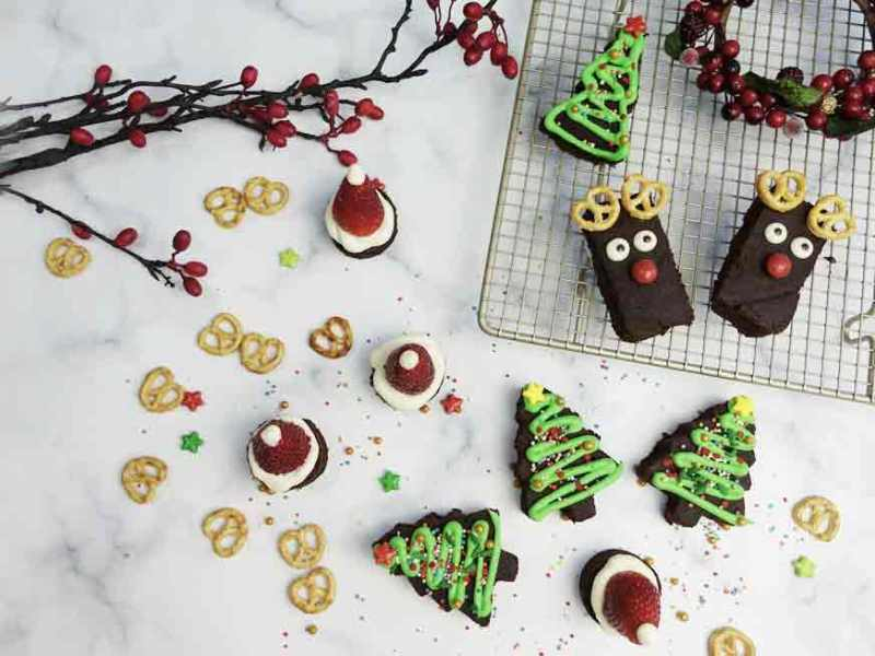 christmas brownies in three ways