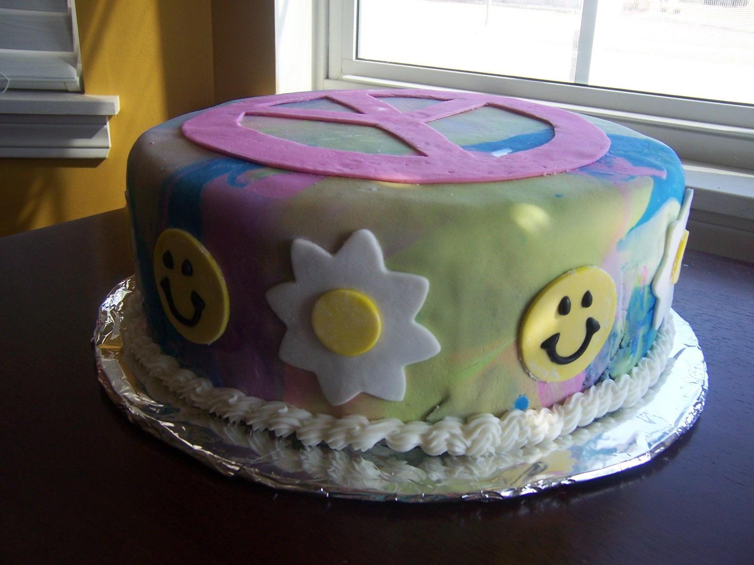 Tie Dye Peace Sign Birthday Cake