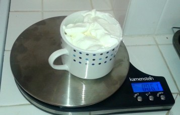 This is how I measured my yogurt. If you don't own a kitchen scale, I highly recommend getting one!