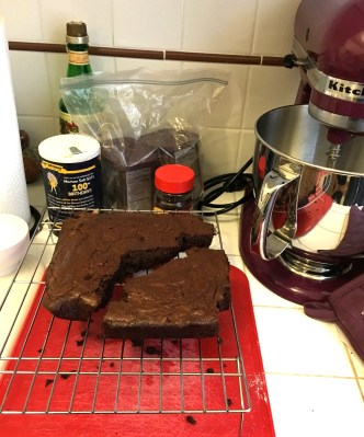This is what happens when you try to move brownies before they're cool.