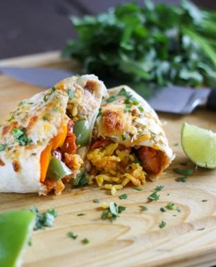 Chicken Andouille Sausage Burritos
