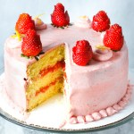 Lemon Strawberry Cake. Soft, lemon cake with a strawberry filling and strawberry buttercream frosting. Delicious combination of sweet and tang!