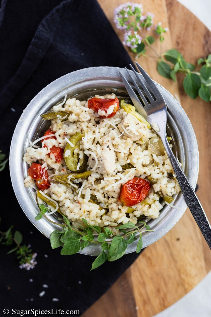 Roasted Vegetables and Chicken Risotto. Delicious, creamy risotto filled with fresh summer vegetables and zesty herb chicken. Cooked in an Instant Pot or on the stove top.
