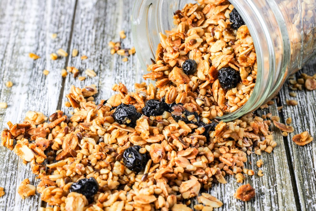 Lemon Blueberry Granola. This granola is easy to make, healthy, and amazing. Perfect with milk for breakfast or to serve on yogurt!