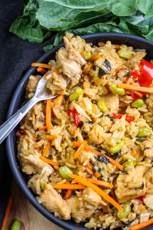 Wasabi Teriyaki Chicken and Rice. This dish is full of delicious flavors and veggies, and super easy to make. It can be made in your Instant Pot or on the stove top!