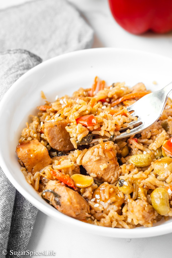 Savory chicken with wasabi and teriyaki cooked with rice and vegetables. This Wasabi Teriyaki Chicken and Rice can be made in your Instant Pot or on the stove top!