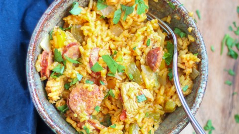 Andouille Sausage Chicken and Rice. A one pot dish with chicken, Andouille sausage, vegetables, and rice. Quick, easy, and the whole family will love it.