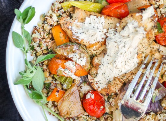 Chicken and Vegetable Salad with Yogurt Tahini Sauce