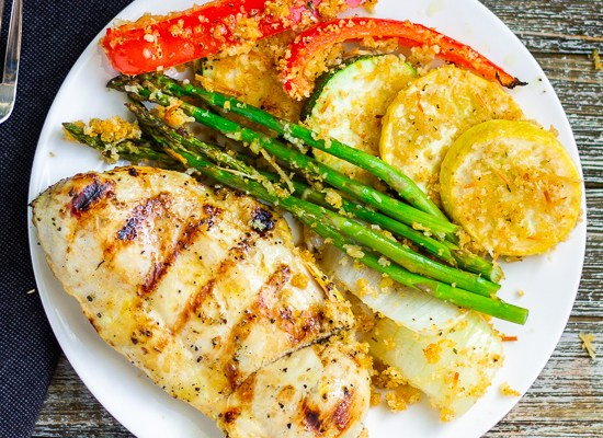 Grilled Lemon Chicken with Panko Crusted Vegetables