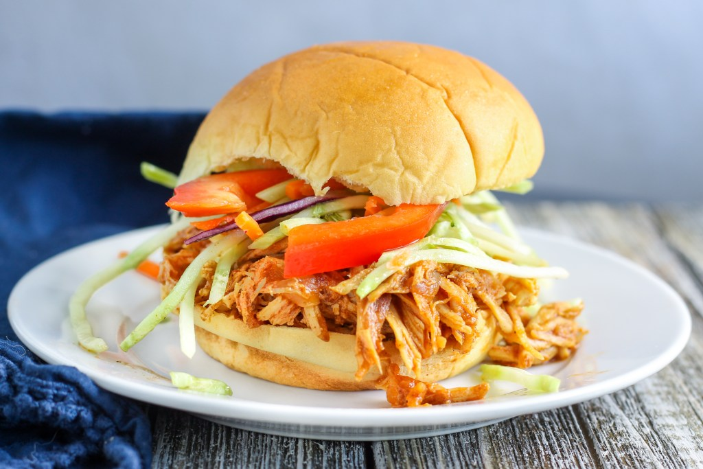 Shredded BBQ Chicken Sliders (Instant Pot or Slow Cooker)